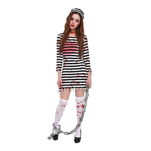 Women Terrorist Zombies Bloody Prisoner Dress Ghost Cosplay Make Up Party Costume