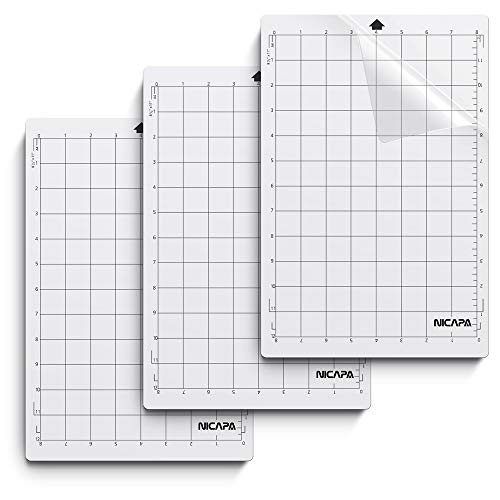 Nicapa Cutting Mat for Silhouette Portrait [Standardgrip, 8x12 inch 3pack] Adhesive&Sticky Vinyl Set Craft Sewing Non-Slip Flexible Gridded Cut Mats Replacement Matts Accessories Craft Sewing