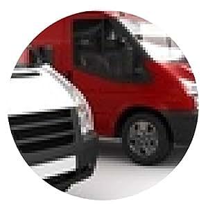 alfombrilla de ratón Transporte rojo entre los blancos (centrado) - ronda - 20cm