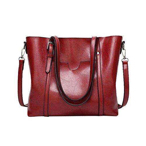 Luoluoluo Borsa a Tracolla Donna moda artificiale in pelle crossbody borsa tracolla borsa casual tote benna borsa Messenger Bag borsa con cerniera Rosso