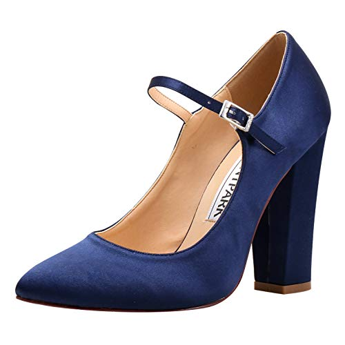 ElegantPark HC1903 Women Pointed Toe Block High Heel Pumps Mary Jane Satin Wedding Bridal Evening Party Dress Shoes Navy Blue US 8 ()
