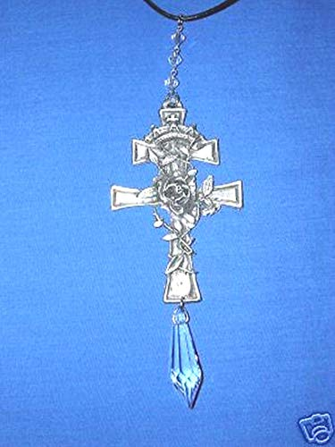 Huge CAST Cross w Rose Vine Details Austrian Crystal Dangle Ornament - Huge Austrian Crystal