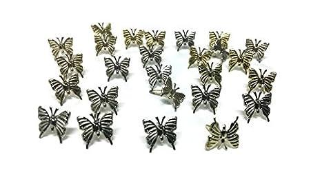 Butterfly Brads Silver/Gold Mix Metallic Paper Fasteners Scrapbooking - Gold Silver Brads