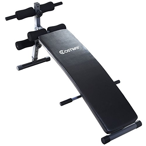 Costway Adjustable Arc Shaped Decline Sit Up Bench Crunch