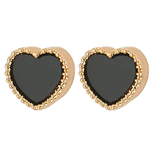 Womens Magnetic Gold Color Heart Stud Earring with Black Enamel, Non-Piercing Clip On Fake Ear