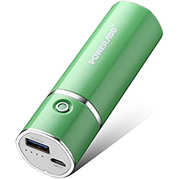 Poweradd Slim2 5000mAh Portable Power Bank with Smart Charging Technology for Apple and Android Smartphones - Green