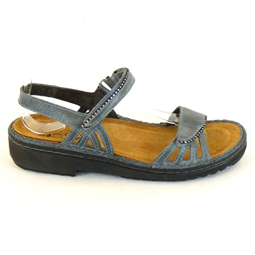 Naot Damen Schuhe Sandaletten Anika Echt-Leder Blaugrau 10324 Wechselfußbett
