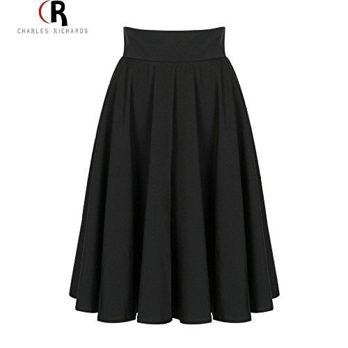 [Muktat_ Midi Skirt 2016 Summer Women Clothing High Waist Pleated A Line Skater Vintage Casual Knee Length Saia Petticoat ( Size S )] (1970s Tennis Costume)