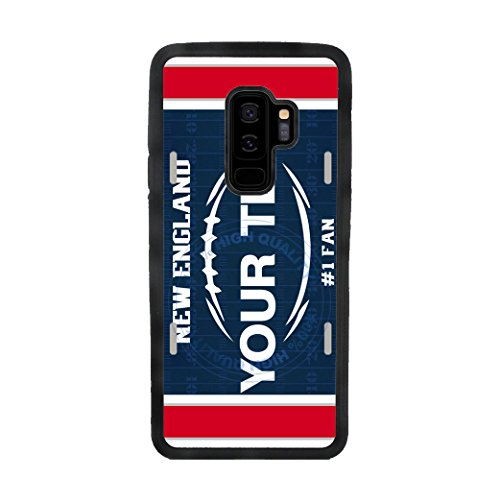 BleuReign(TM) Personalized Custom Name Football New England License Plate TPU Rubber Silicone Phone Case Back Cover for Samsung Galaxy S9 Plus -