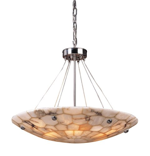Elk 8851/6 6-Light Pendant In Polished Chrome And Hand Assembled Alabaster ()