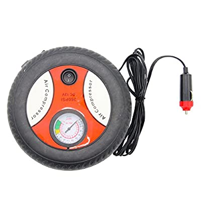 TargetEvo Mini Portable Car Air Inflator Pump Electric Tire Inflator Air Compressor DC 12V 260 PSI with Gauge 3 Nozzle Adapters