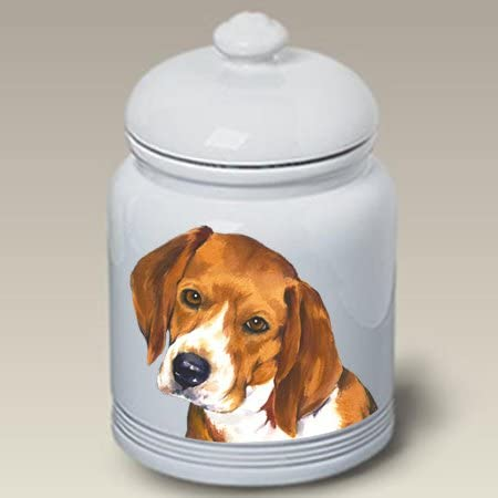 4 Hound Dogs in bath in Ceramic jar with lid