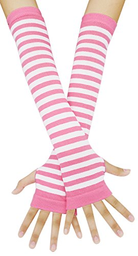 Bienvenu Punk Gothic Rock Long Arm Warmer Fingerless Gloves,PinkWhite]()