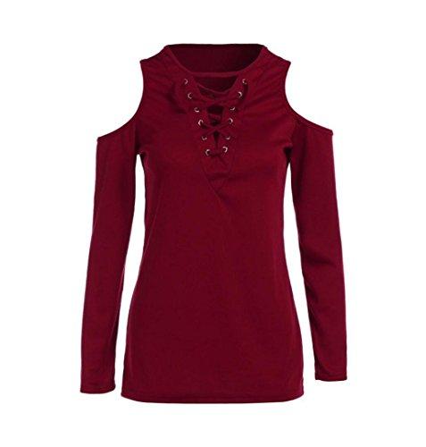 ZEZKT☀Langarm Riemen Damen Langarmshirt Cross-Ausschnitt Design Shirt Blusen Hemd Oberteil Tops T-Shirt Shirt Slim Beiläufige Bluse Frühling Sommer Einfarbig Tanktops Reizvoller Rot