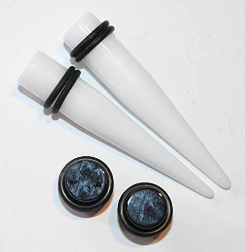 6 N1 Kit (PAIR of White Tapers and Black Plugs Ear Stretching Kit gauges 00g 0g 2g 4g 6g 8g 10g 12g 14g (12g))