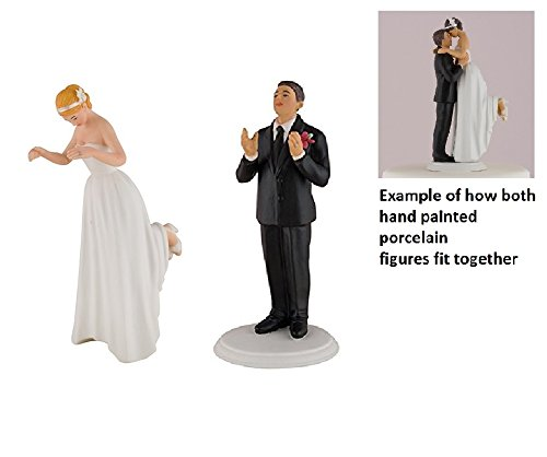 Wedding Star Romance Bride & Groom Cake Topper Figurine BLONDE & BRUNETTE BROWN -