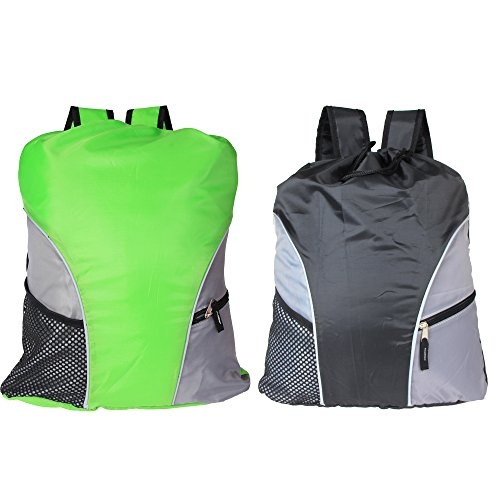 Damero Drawstring Backpack, Lightweight Sport Gym Shoulder Bag Sack pack Rucksack with Reflective Tapes, Perfect for Travel, School, Exercise.