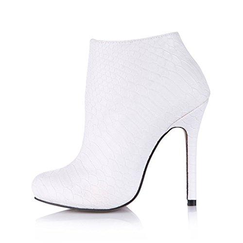 Corto y botas el temperamento chica cena señoras Inicio Piel de serpiente blanca grande al alto-heel shoes White
