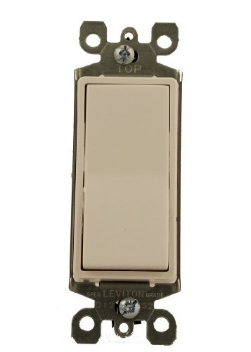 Leviton 5611-W 15 Amp, 120/277 Volt, Decora Rocker Lighted Handle, Illuminated Off Single-Pole AC Quiet Switch, Residential Grade, Non-Grounding, White ()