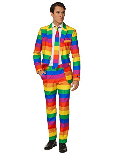 Pimp TigSuitmeister Suits for Men Comes with Jacket, Pants and Tie with Fun Prints er Rainbow