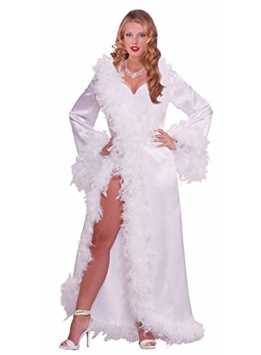 (Forum Novelties Vintage Hollywood Marabou Satin Robe, White,)