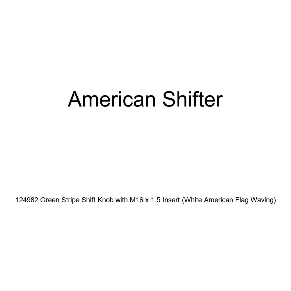 American Shifter 124982 Green Stripe Shift Knob with M16 x 1.5 Insert White American Flag Waving