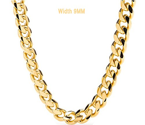 Gold-chain-necklace-9MM-18K-Diamond-cut-Smooth-Cuban-Link-with-a-USA-made