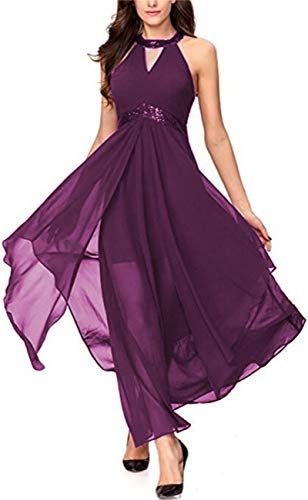 Lrady Women's Halterneck Evening Gown Sleeveless Slim Flare Party Maxi Long Dress Purple - Gown Evening Sheer Halter