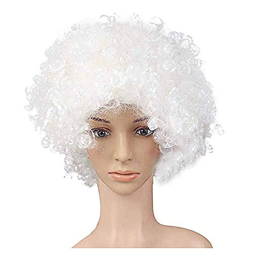 KATCOCO Hippie Style Afro Wig Heat Resistant Colorful Syntheic Cosplay Daily Party Wig (SILVER) -