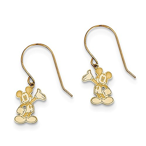 14kt Yellow Gold Disney Waving Mickey Dangle Wire Earrings (Disney Pearl Earrings)