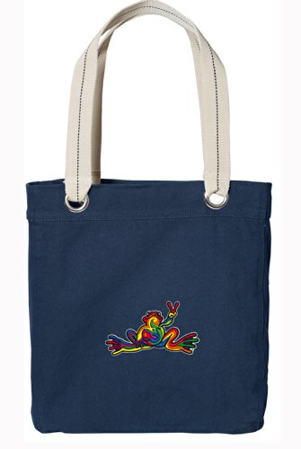 Peace Frog Tote Bag RICH Dye Washed Navy COTTON CANVAS