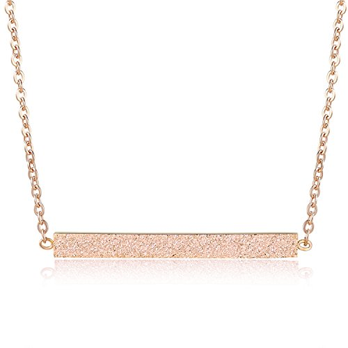 Rosa Vila Minimalist Bar Necklace, Simple Horizontal Bar Necklace for Women, Gold Bar Necklace, Silver Bar Necklace, and Rose Gold Bar Necklace (Rose Gold Tone)