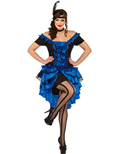 Purple Saloon Girl Costume (Delicious Plus-Size Dance Hall Queen Costume, Sapphire, 3X/4X)