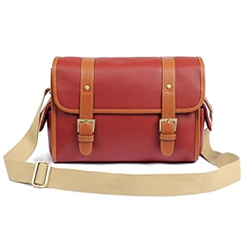 5154dcedfb Image Unavailable. Image not available for. Color  MECO Wine Red PU Leather  DSLR Camera Messenger Shoulder Bag ...
