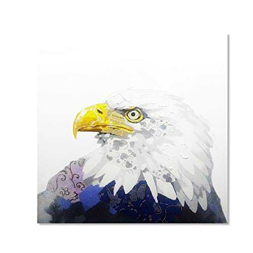 Bignut Art 100% Hand Painted Wall Decor Modern Bald Eagle Bird Oil Painting with Frame Wall Art for Home Decor Ready to Hang 20