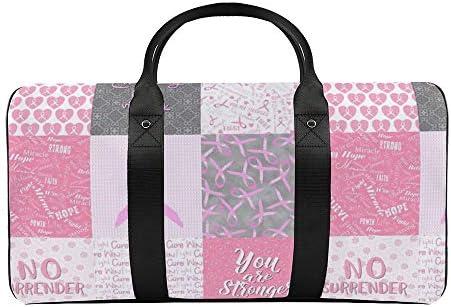 ピンクの正方形のがん詐欺師キルト61 旅行バッグナイロンハンドバッグ大容量軽量多機能荷物ポーチフィットネスバッグユニセックス旅行ビジネス通勤旅行スーツケースポーチ収納バッグ
