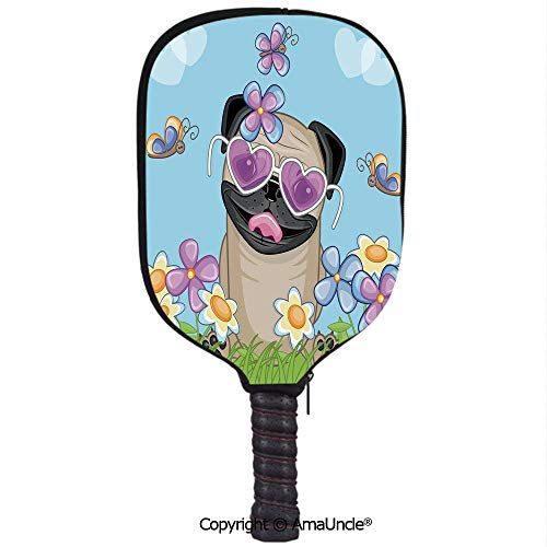 SCOXIXI 3D Pickleball Paddle Racket Cover Case,Adorable Puppy on The Field Flowers Butterflies Heart Shaped Clouds Open Sky DecorativeCustomized Racket Cover with Multi-Colored,Sports Accessories