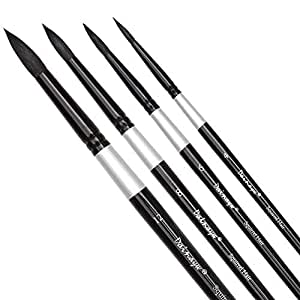 Dainayw Round Watercolor Paint Brushes Squirrel Hair Professional Artist Painting Mop - 4Pcs Black Handle