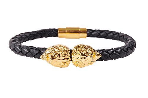 Men's Fashion Dual Gold Lion Head Premium Leather Bracelet (Black)