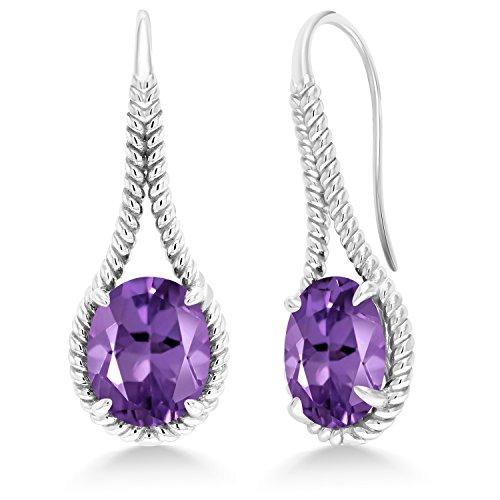 Gem Stone King 8.00 Ct Oval Purple Amethyst 925 Sterling Silver Earrings ()