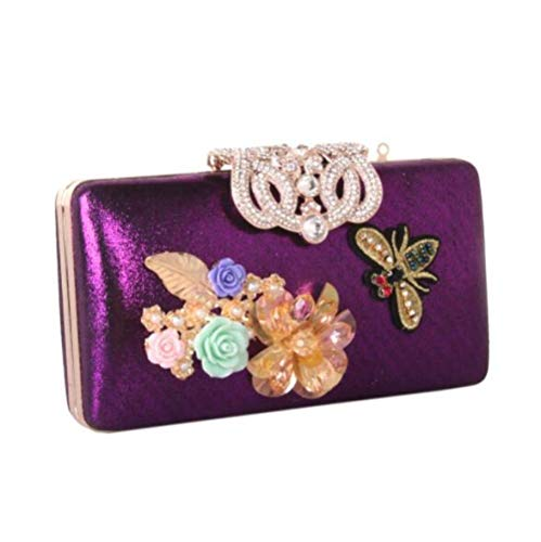 Leather Flower DHFUD Bag Diamond Purple Evening Women's Pearl Handbag YwqOwP