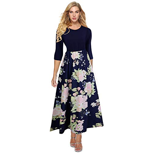 HOOYON Women's Casual Floral Printed Long Maxi Dress with Pockets(S-5XL) (L, Blue-2)