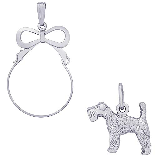 Terrier Charm Dog Kerry Blue (Rembrandt Charms Kerry Blue Terrier Charm on a Rembrandt Charms Bow Charm Holder)