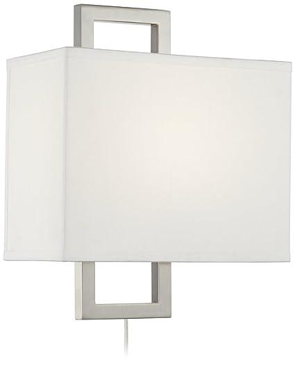 aundria rectangular brushed steel plug in wall lamp amazon com