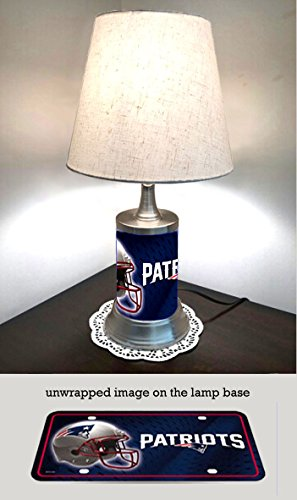 IS Table Lamp with shade, New England Patriots plate rolled in on the lamp base