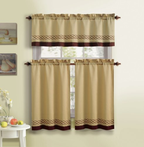 3 piece kitchen curtain set 1 valance 2 tiers solid for Kitchen set in amazon