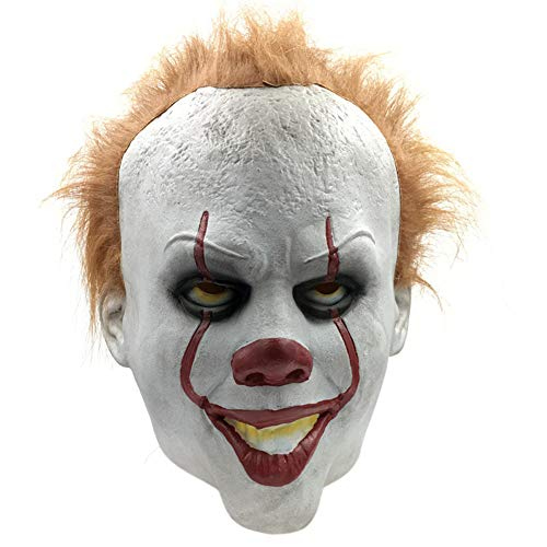 JLYSHOP Scary Mask Halloween, Stephen King's It Pennywise Mask, Latex Halloween Scary Mask, Cosplay Clown Party Mask Prop -