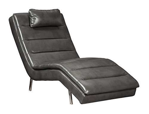 Ashley Furniture Signature Design - Goslar Contemporary Faux Leather Chaise - Gray (Polyester Modern Lounge Chairs)