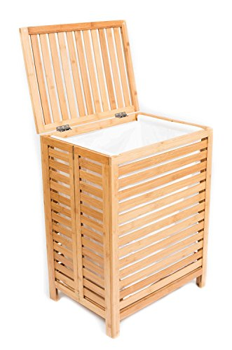 BirdRock Home Folding Bamboo Hamper (Large) | Made of Natural Bamboo | Includes Machine Washable Cotton Canvas Liner