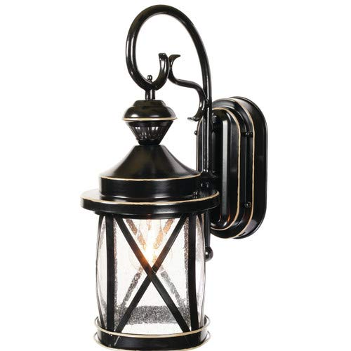 Heath Zenith HZ-4298 Single Light 11-5/16″ High Outdoor Wall Sconce – Motion Sen, Satin Black For Sale